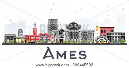Ames Iowa Skyline with Color Buildings Isolated on White Background. Business Travel and Tourism Illustration with Historic Architecture.