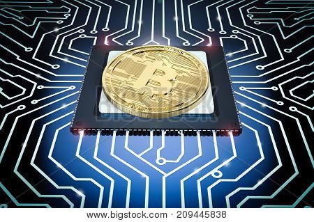 3d rendering gold bitcoin on cpu with circuit board