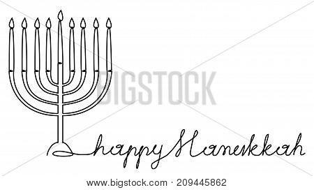 Hanukkah menorah one line drawing - vector illustration