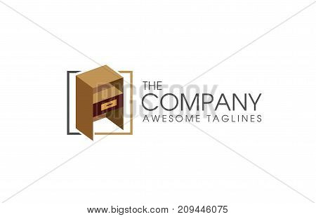 furniture concept logotype, Icons for home furniture, night stand furniture logo