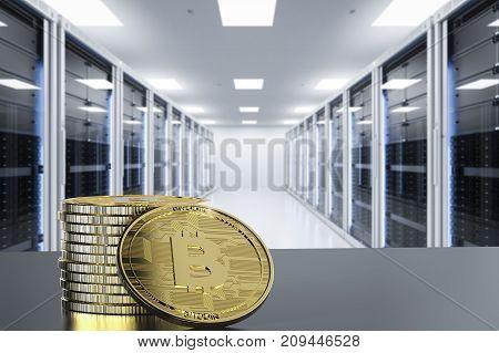 3d rendering gold bitcoin in server room