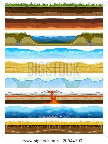 Landscape earthy slice soil section mountains with water geological land underground field nature cross land ground vector illustration. Ecology agriculture layer square piece cross section.