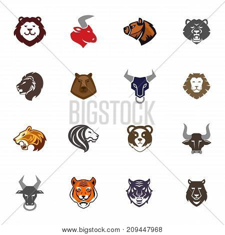 Wild animals head logo badges labels design face quality emblem templates leader business company icon symbol vector illustration. Handcrafted authentic drawn graphics.