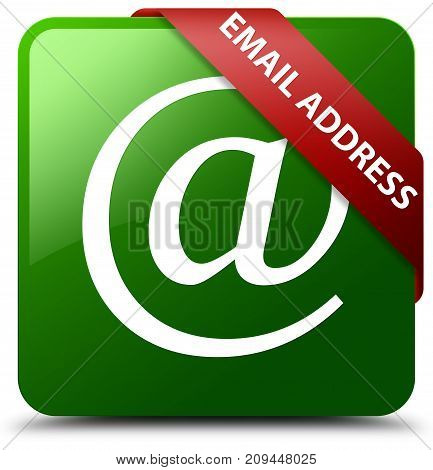 Email address isolated on green square button with red ribbon in corner abstract illustration poster
