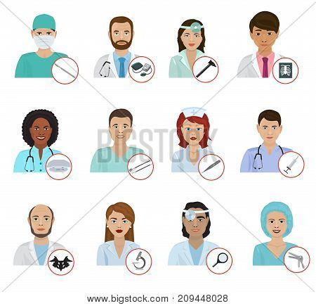 Different doctors avatar face portraits hospital staff characters flat medicine professional physician people vector illustration. Human healthcare specialist medical person.