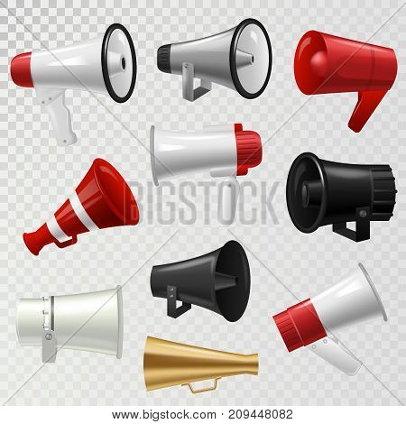 Megaphone realistic 3d high volume speaker device mouthpiece speaking-trumpet vector illustration. Announcement audio broadcasting sound bullhorn.