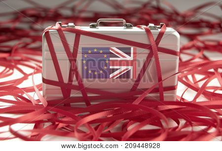 Brexit red tape around a briefcase with european and british flags