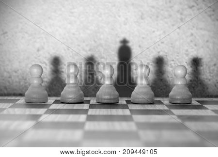 Chess king shadow from pawn piece amongst many