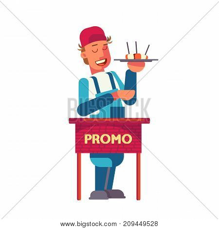 Food promotion design concept with young man standing at promo table and offering tasting pieces of food. Promo action process.