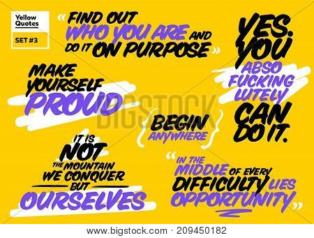 Vector Set of Short Motivational Quotes. Inspiring Cards. Handwriting Brush Typography. Set of Positive Messages about Success Proud Life Happy Achievement Opportunity. Inspirational Sayings.