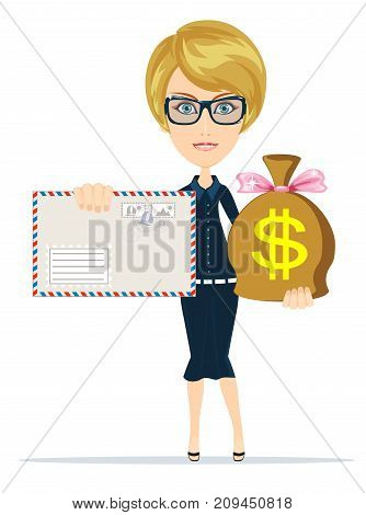 envelope and money bag. Stock flat vector illustration.