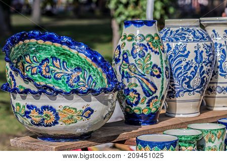 Romanian traditional ceramic painted with specific patterns for Corund Transylvania area.