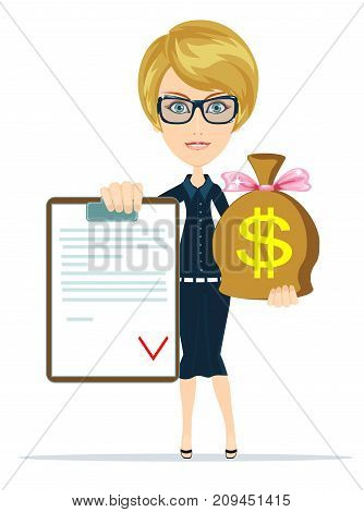 Get money for contract. Stock vector illustration for poster, greeting card, website, ad, business presentation, advertisement design.