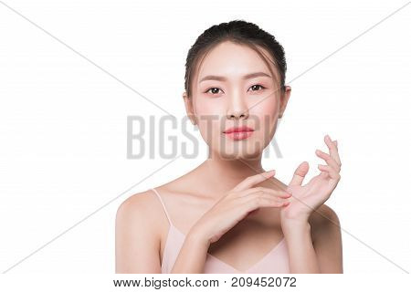 Young asian woman with clean fresh skin antiaging concept poster
