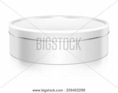 Round cookie tin box mock-up vector template. Good for packaging design.