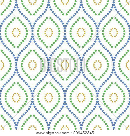 Seamless ornament. Modern background. Geometric pattern with repeating dotted colorful wavy lines