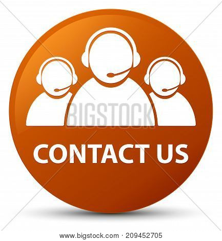 Contact Us (customer Care Team Icon) Brown Round Button