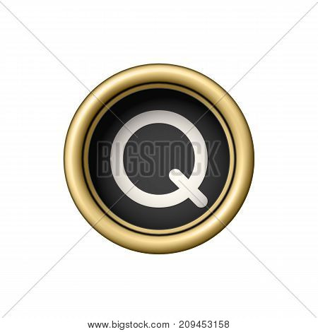 Letter Q. Vintage golden typewriter button isolated on white background. Graphic design element for scrapbooking, sticker, web site, symbol, icon. Vector illustration.