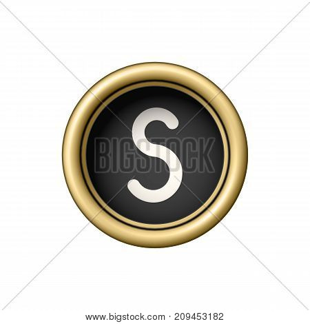 Letter S. Vintage golden typewriter button isolated on white background. Graphic design element for scrapbooking, sticker, web site, symbol, icon. Vector illustration.