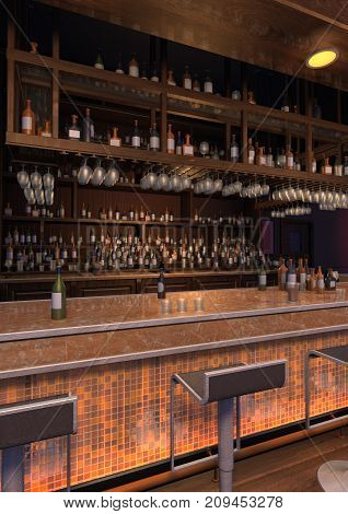 3D rendering of a luxury night lounge bar interior