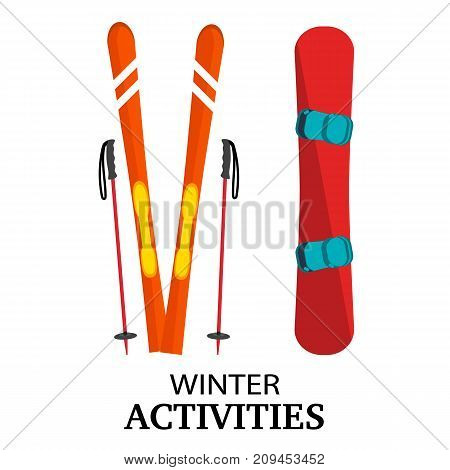 Ski poles snowboard flat vector illustration isolated on white background. Winter ski snowboard activities conceptual colorful icons front view. Ski equipment snow board illustration.