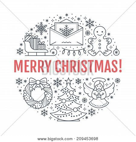 Christmas new year banner illustration. Vector line icon of winter holidays christmas tree, gifts, angel, letter to santa, presents, wreath gingerbread. Circle template with text Merry Christmas.