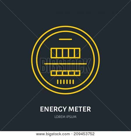 Energy meter flat line icon. Electrical repair works sign. Electricity industry illustration, electrician service.