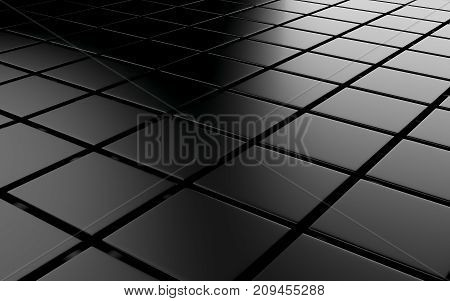 Abstract background array of black shinny cubes. 3d rendering