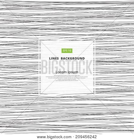 Black and white Abstract horizontal lines striped pattern. Vector illustration.