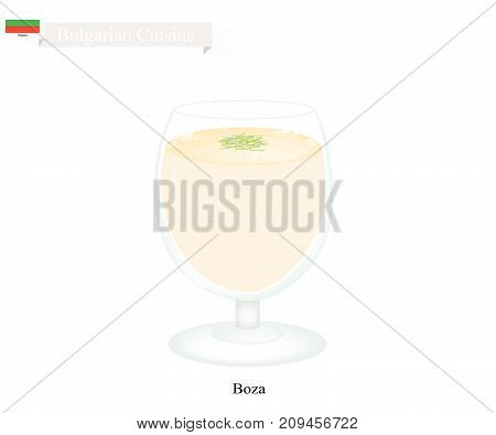 Bulgarian Cuisine, Boza or Traditional Fermented Thick Sweet Drink Made From Malted Corn and Flour with Roasted Chickpea. One of Most Famous Drink in Bulgaria.