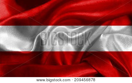 Realistic flag of Austria on the wavy surface of fabric. This flag can be used in design.