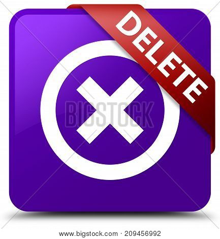 Delete Purple Square Button Red Ribbon In Corner