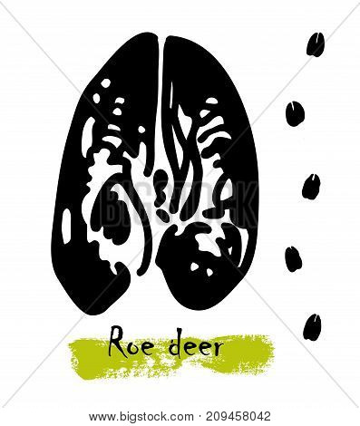 Wildlife animals. Traces of a roe deer. Footprints of animals, illustration of black silhouette footprints. Vector illustration