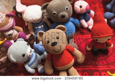 Handmade Knitted Toys Are On The Counter
