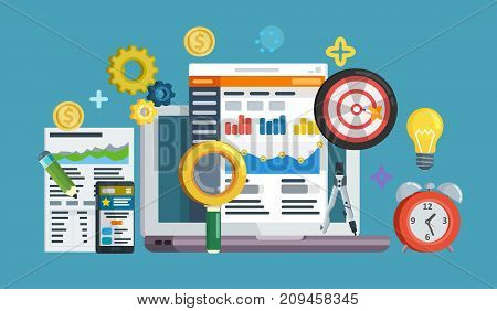 Business growth analytics and valuation development. Data driven marketing strategy. Web template in flat style. Business development, lead generation, revenue increase. Raster image