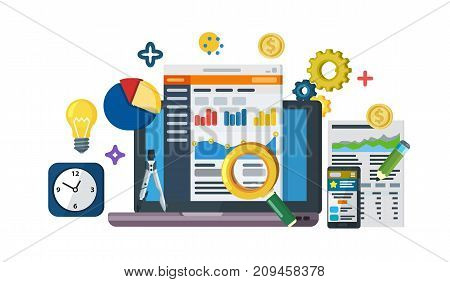 Data driven marketing strategy. Web template in flat style. Business development, lead generation, revenue increase. Business growth analytics and valuation development. Raster image
