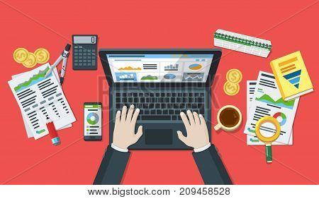 Business accounting. Auditing and business concepts. Research, analysis, test, analytics, data, project management, planning. Hands of a man on a laptop keyboard. Tax process. Raster image