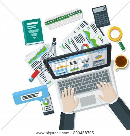 Auditing and business concepts. Research, accounting, analytics, data, project management, planning. Top view of the workplace. Hands of a man on a laptop keyboard. Tax process. Raster image