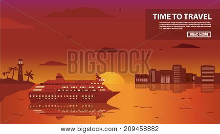 The cruise ocean liner passenger of a tropical sea landscape with palm trees and the sandy beach on a sunset. Fires of the night city island for summer holiday of tourists during .In flat a vector.