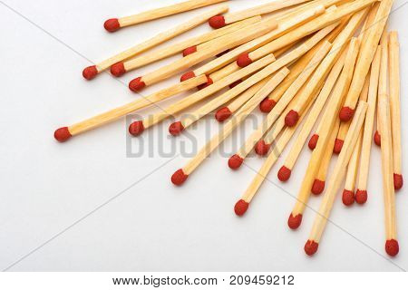 matches on white background, sulfur, wooden, matches