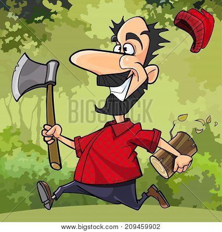 cartoon funny lumberjack runs through the forest with an ax