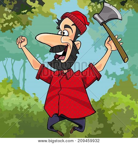 cartoon lumberjack with axe joyously jumping in the forest