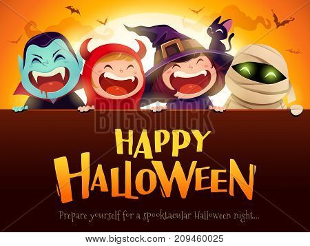 Happy Halloween Party. Group of kids in halloween costume with big signboard. In the moonlight.