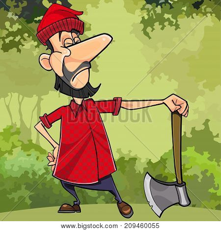 cartoon serious lumberjack in forest with an ax