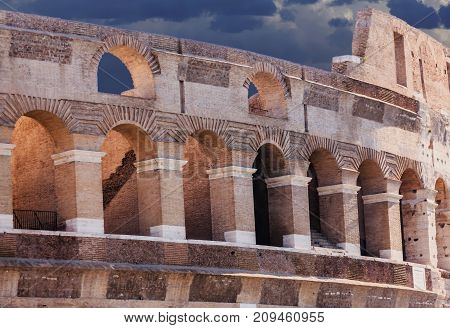 The famous ruins of the ancient Roman Colosseum in Rome Italy