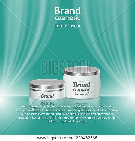 3D Realistic Cosmetic Bottle Ads Template. Cosmetic Brand Advertising Concept Design With Wavy Light