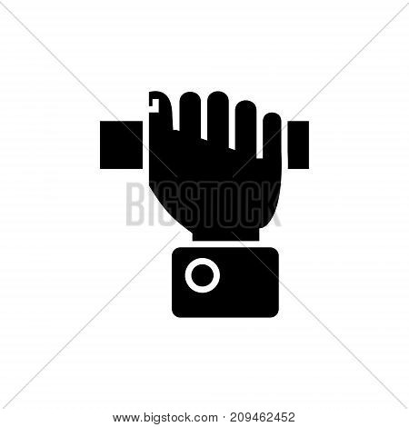 hand pulling icon, illustration, vector sign on isolated background