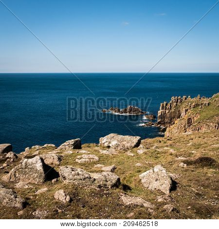 Lands End the rocky outcrop and peninsula which forms the most westerly point of England.