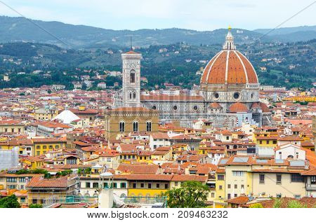 Florence cityscape with cathedral Duomo Santa Maria del Fiore, Florence, Italy.