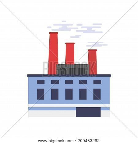Industrial building, power or chemical plant, factory vector illustration isolated on a white background